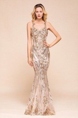 Sparkle Sequined High neck Sleevelss Rose Gold Mermaid Long Evening Dresses_1