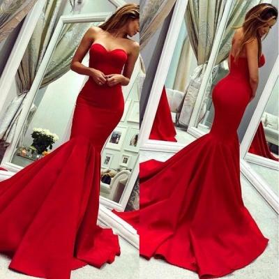 Sey Red Satin Mermaid Sleeveless Sweetheart bodenlangen rückenfreie Ballkleider | Günstige Abendkleider Mit Reißverschluss_3