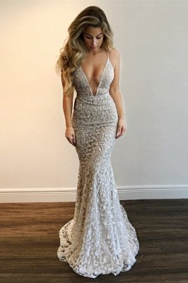 Gorgeous V-Neck Prom Dress | Lace Mermaid Evening Gowns BA9393_2