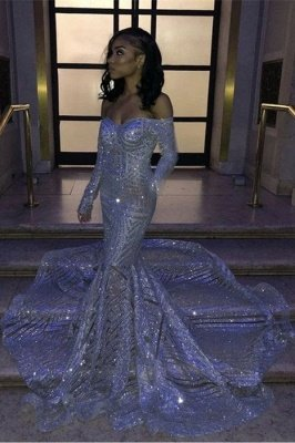 Sweetheart Strapless Sequins Long Train Mermaid Prom Dresses with Sleeves