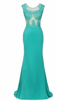 Arrick | Mint Green round neck Cap sleeve Lace appliques Prom Dress_11
