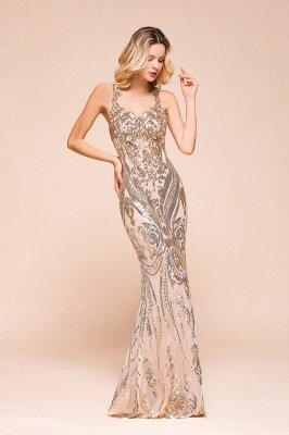 Sparkle Sequined High neck Sleevelss Rose Gold Mermaid Long Evening Dresses_6