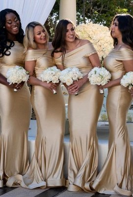 Champagne Sheath Bateau Cap Sleeves Bridesmaid's Dresses | Cheap Floor Length Maid Of Honor Gowns With Zipper Back_2