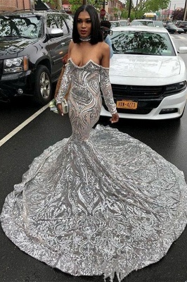 Trendy Long sleeve Sweetheart Silver Sequined Luxury Prom Dress 2020