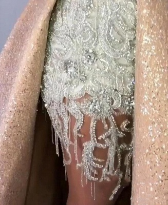 Gorgeous Lace Appliques Crystal V Neck Spaghetti Straps Prom Dresses With Detachable Skirt | Cheap V Back Sleeveless Party Gowns_3