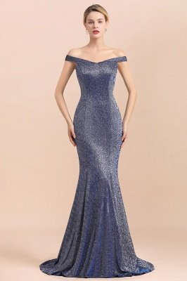 Elegant Off-the-shoulder Sparkly Sequin Long Gray Prom Dress with Floor length Train_1