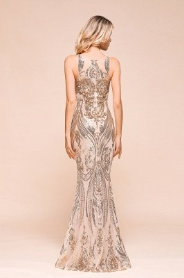 Sparkle Sequined High neck Sleevelss Rose Gold Mermaid Long Evening Dresses_3