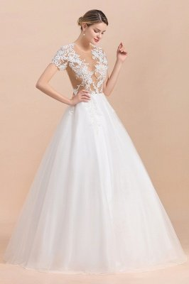 Elegant White Short Sleeves Ball Gown Buttons Lace Applique Wedding Dress_4