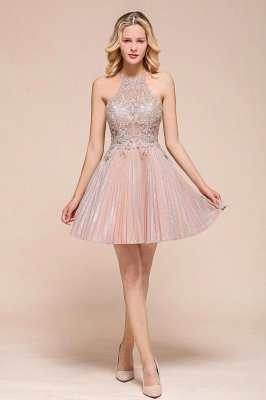 Arlinda | Halter Lace Appliques Pink Princess Homecoming Dress
