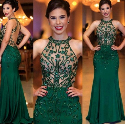 Sexy Sleeveless Round Neck Beading Prom Dresses With Open Back | Cheap Dark Green Evening Gowns_2