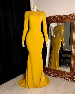 Curvy Long Sleeves Open Back Mermaid Evening Dresses_3