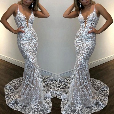 Sexy Mermaid White Lace V Neck Sleeveless Prom Dresses | Cheap Party Gowns_2