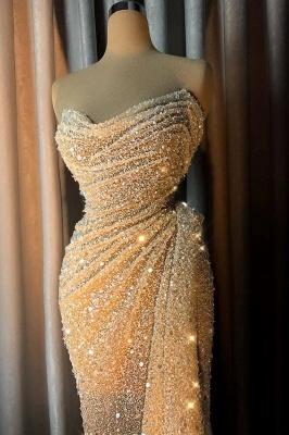 Sparkly Strapless V-neck Crystal Sequins Draped Mermaid Prom Dresses_1