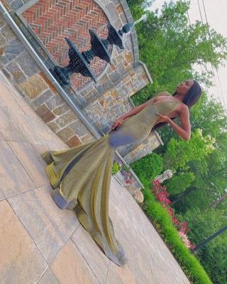Radiant V-neck Sleeveless Brush Train Long Mermaid Prom Dresses_2