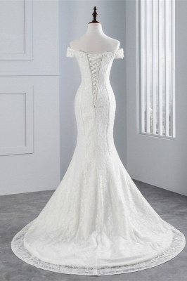 Elegantes schulterfreies Brautkleid aus weißer Meerjungfrau_2