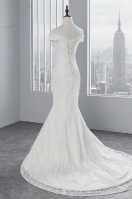 Elegantes schulterfreies Brautkleid aus weißer Meerjungfrau_3