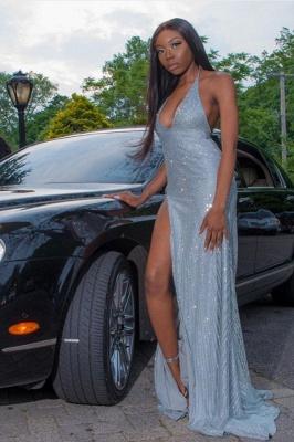 Sexy Halter V-neck Sequins Front Slit Long Mermaid Prom Dresses_1