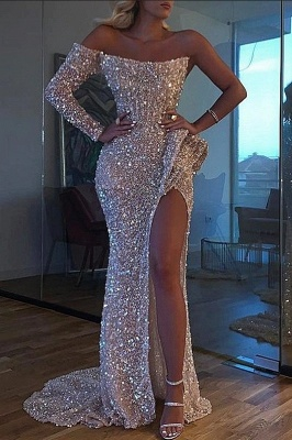 Sexy Crystal Beading One-shoulder Strapless Slit Mermaid Sequins Prom Gowns_1