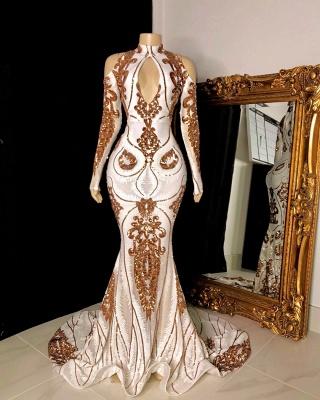 Magnifique perles paillettes trou de serrure décolleté épaule froide manches longues sirène robes formelles_2