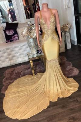 Superbes appliques dorées Spaghetti longues robes de soirée sirène_1