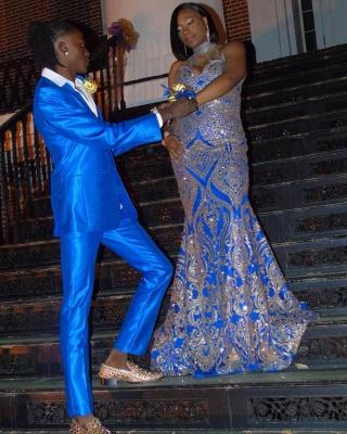 Plus Size Halter Sequins Appliques Long Mermaid Prom Dresses_2