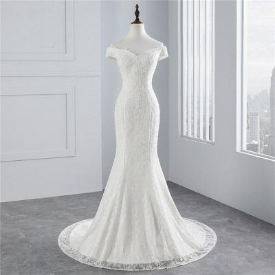 Elegantes schulterfreies Brautkleid aus weißer Meerjungfrau_8