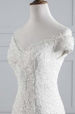 Elegantes schulterfreies Brautkleid aus weißer Meerjungfrau_5