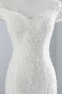 Elegantes schulterfreies Brautkleid aus weißer Meerjungfrau_6