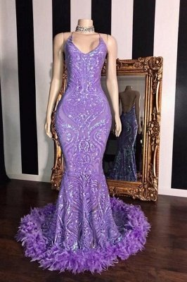 Spaghetti V-neck Sequins Floor Length Fur Train Mermaid Prom Dresses