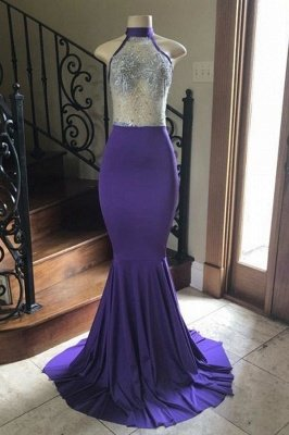 Crystal Beading Illusion Top Halter Long Mermaid Prom Gowns