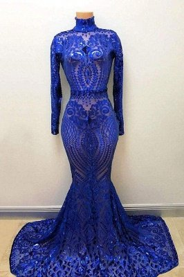 High Neck Long Sleeves Crystal Beading Appliques Mermaid Evening Gowns