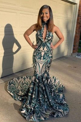 Apliques modernos Halter Keyhole decote Mermaid Long Prom Dresses