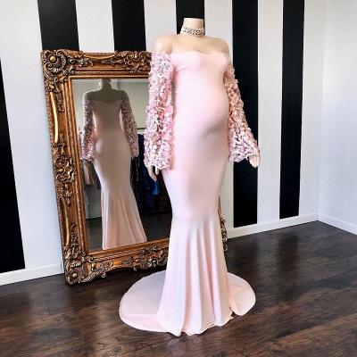 Vestidos formales embarazadas de manga larga floral rosa sirena hasta el suelo_2