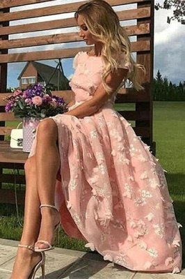 Beautiful Pink Lace Round Neck Cap Sleeves Prom Dresses | Cheap Ankle Length Party Gowns