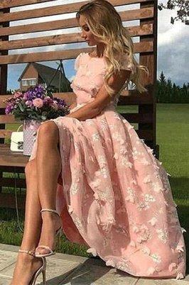 Schöne rosa Spitze runde Halskappe Ärmel Prom Kleider | Günstige knöchellange Partykleider