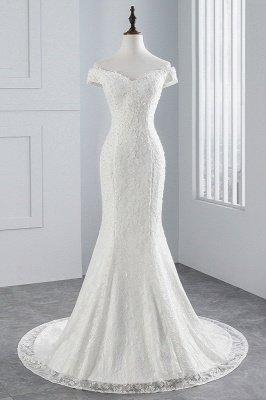 Elegantes schulterfreies Brautkleid aus weißer Meerjungfrau_1