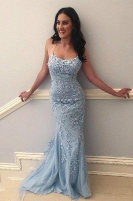 Elegant Sky Blue Spaghetti Strap Lace Applique Simple Long Prom Dress_6