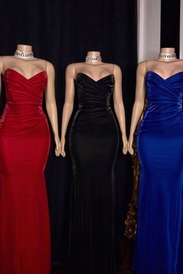 Strapless Ruffled V-neck Mermaid Floor Length Prom Dresses