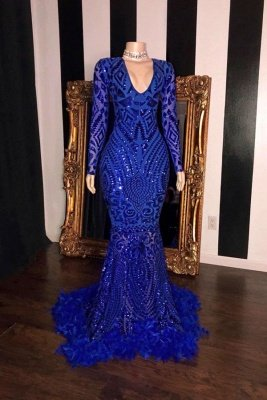 Lange Ärmel V-Ausschnitt Perlen Muster Lange Meerjungfrau Prom Kleider