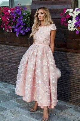 Beautiful Pink Lace Round Neck Cap Sleeves Prom Dresses | Ankle Length Party Gowns_3