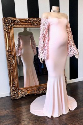 Pink Floral Long Sleeves Mermaid Floor Length Pregnant Formal Dresses