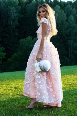 Beautiful Pink Lace Round Neck Cap Sleeves Prom Dresses | Ankle Length Party Gowns_2