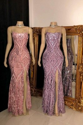 Glamorous Spaghetti Straps Front Slit Sequins Mermaid Robes de bal_1