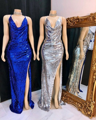 Shinning Sequins V-neck Sleeveless Front Slit Mermaid Prom Dresses_2
