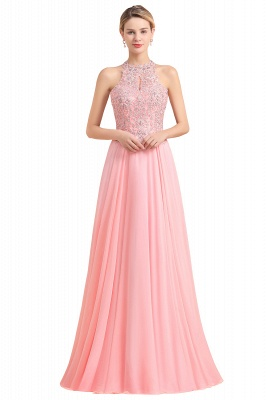 Modest Pink Pears Beaded A-line Halter Bridesmaid Dresses_2