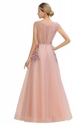 Sleeveless Crew Neck Tulle Floral Appliques Evening Party Dress Floor Length Aline Party Dress_9