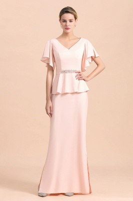 Cap sleeves V-neck Pink Two pieces Long mother of the bride dress_4