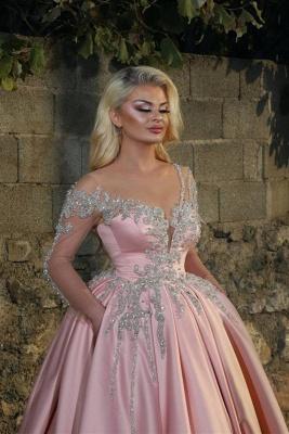 Glamorous Princess V Neck manches longues robes de bal avec des perles | Robes de bal roses pas chères_2
