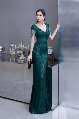 Shining Sequined Emerald Green Mermaid Cap sleeve Long Prom Dress_5