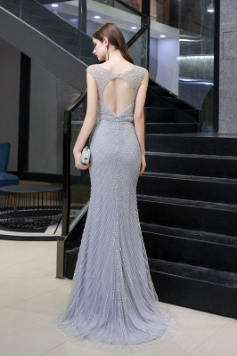 Sexy Mermaid V-neck Silver Mermaid Prom Dress_12